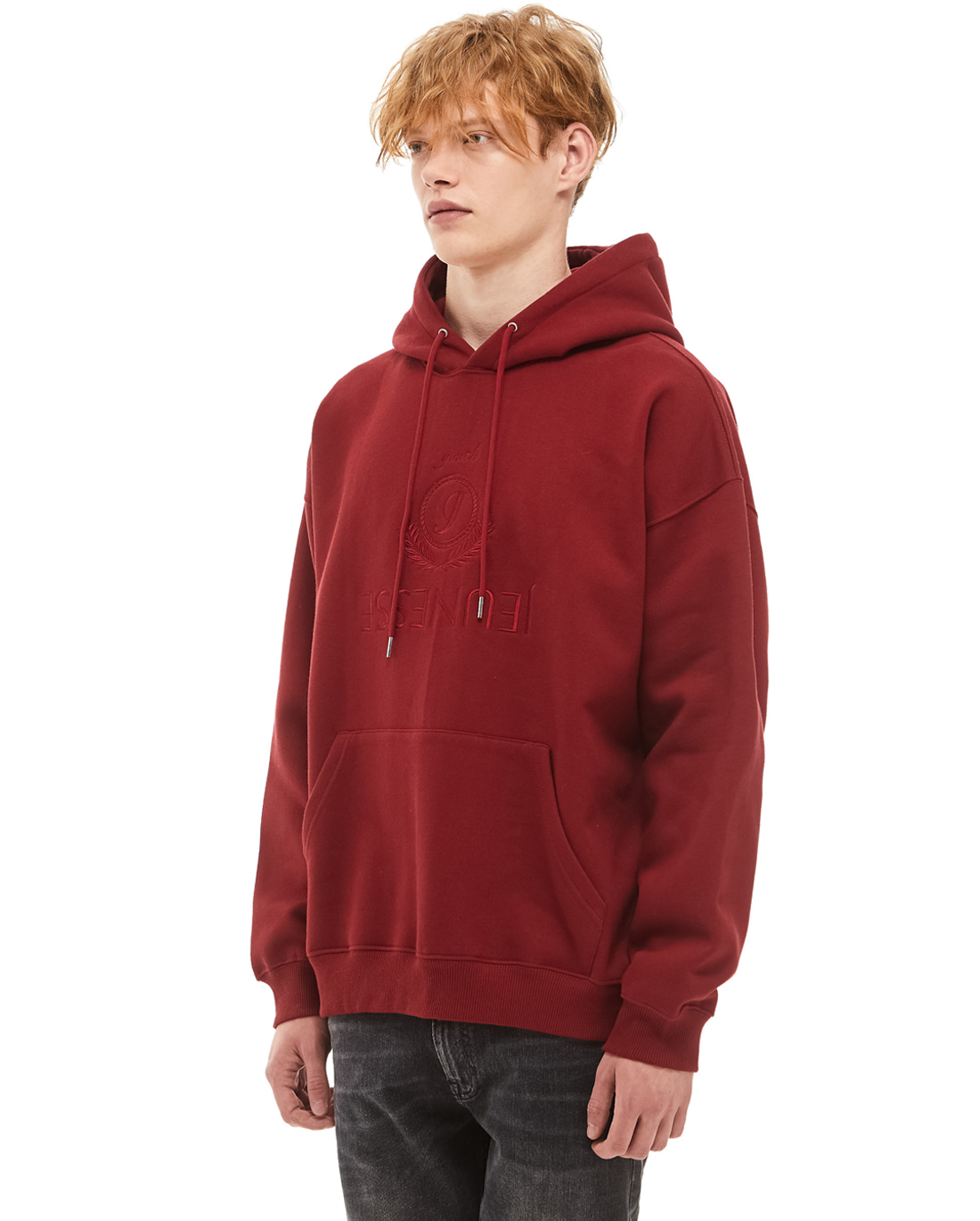 Jeunesse Embroidery Hoodie Red (4단 헤비 쭈리)