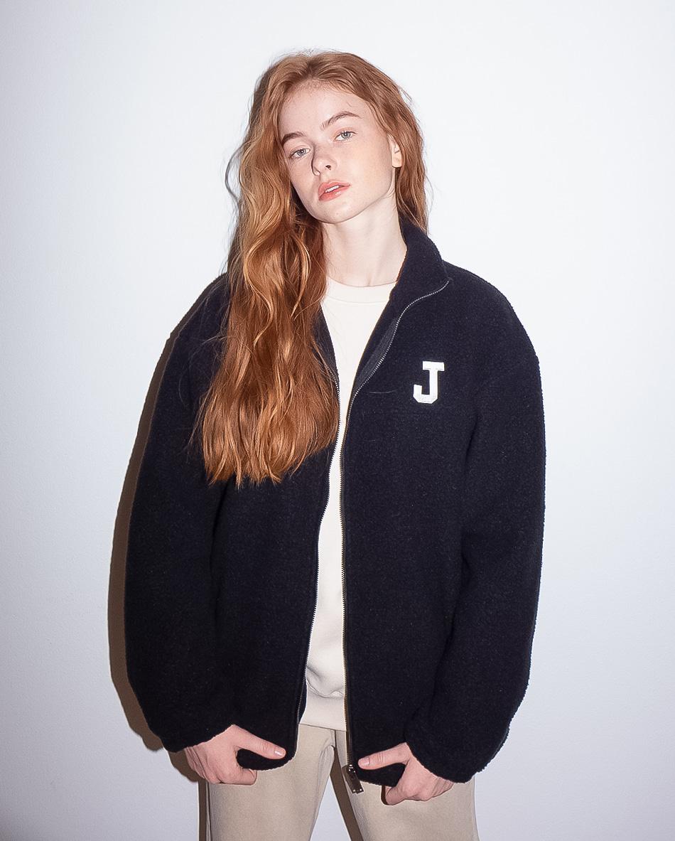 J logo fleece FULL ZIP-UP BLACK