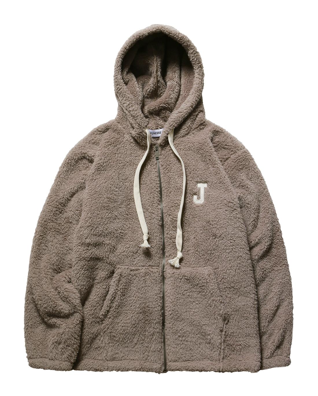 J logo fleece ZIP-UP Hoodie LIGHT BROWN