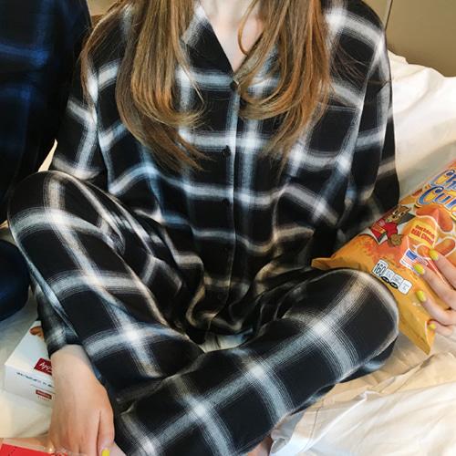 口袋格紋排釦睡衣+腰鬆緊睡褲