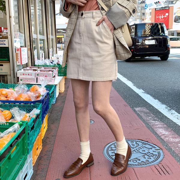 實穿百搭純棉高腰短裙