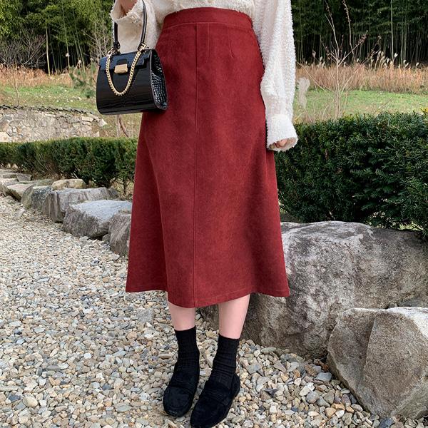 百搭純色車縫線A字襬長裙