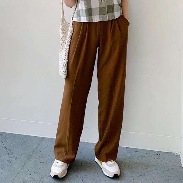 經典單釦壓褶微寬管西裝褲
