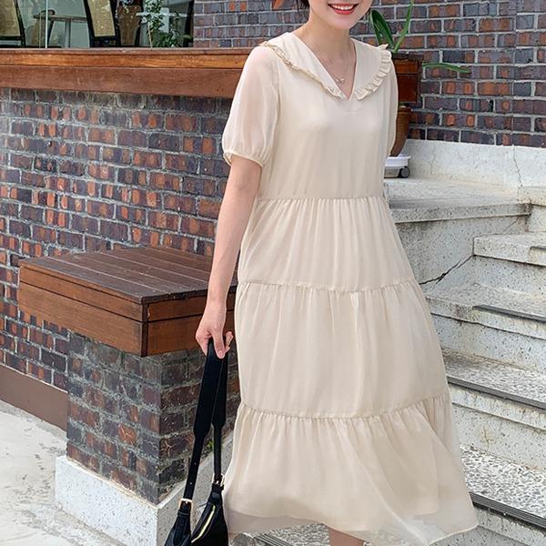 荷葉邊翻領綁帶層次襬洋裝