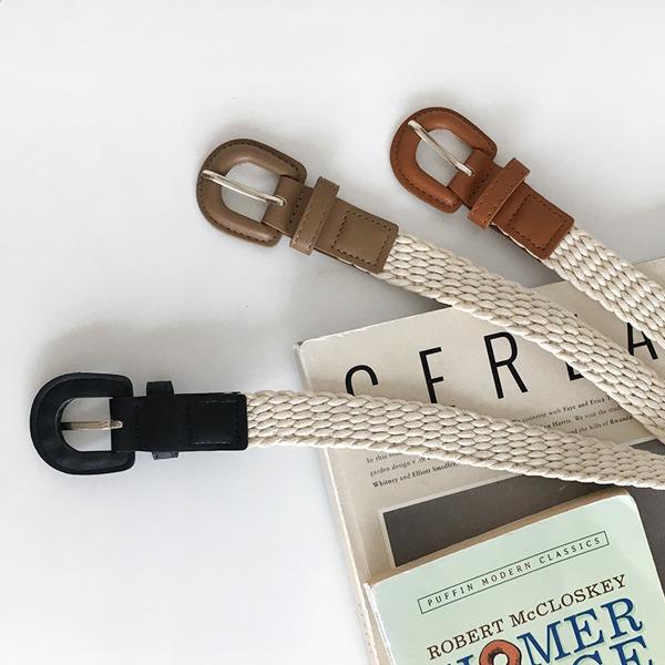 皮革D字釦飾編織造型腰帶