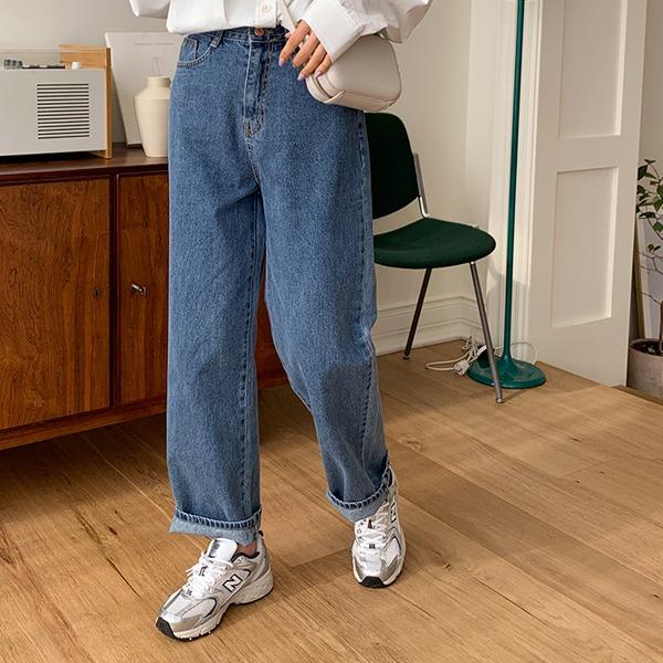 高腰寬管刷白牛仔褲