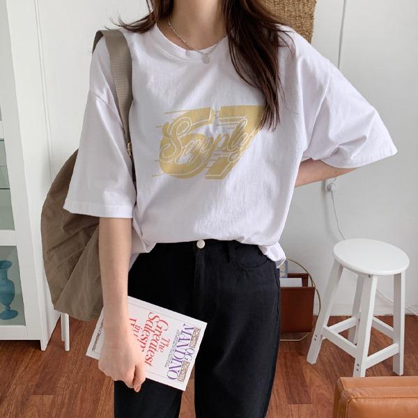 復古數字印花短袖T恤