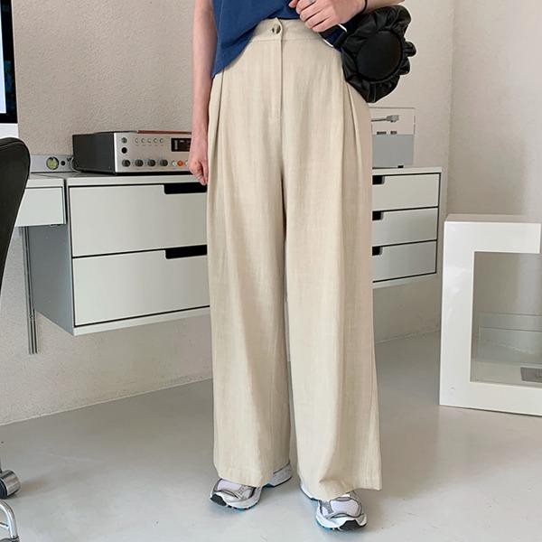 琥珀釦壓褶後鬆緊混亞麻寬褲
