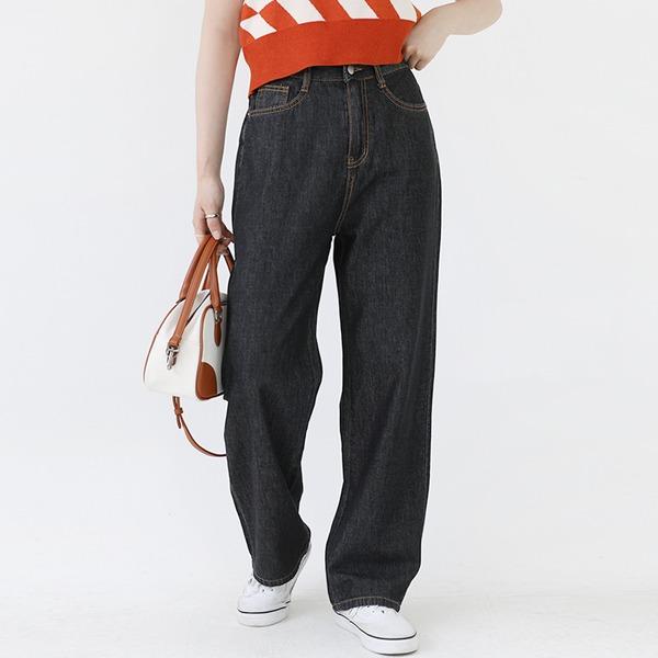 多色款口袋高腰寬管牛仔褲