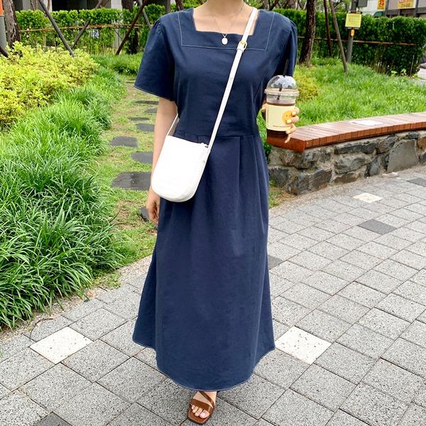 縫線方領綁帶混棉麻長洋裝