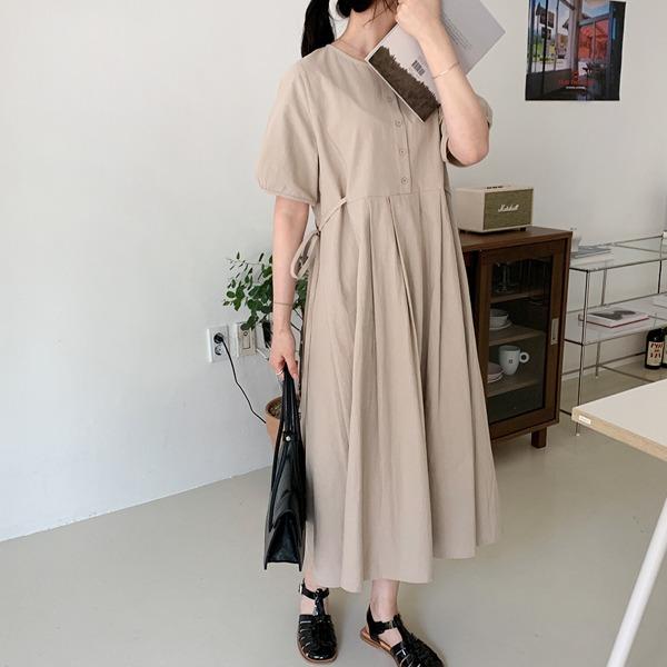 半排釦側綁帶壓褶襬長洋裝