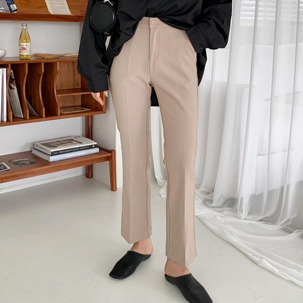 高腰弹力微喇休闲裤
