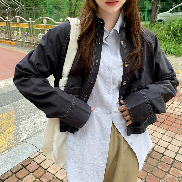 車線口袋拉克蘭袖短版外套