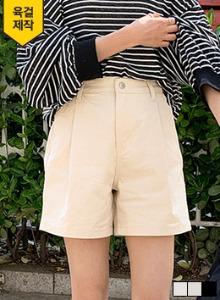 基本色壓褶純棉寬襬短褲
