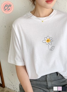 圆领五分袖花朵印花基本款T恤
