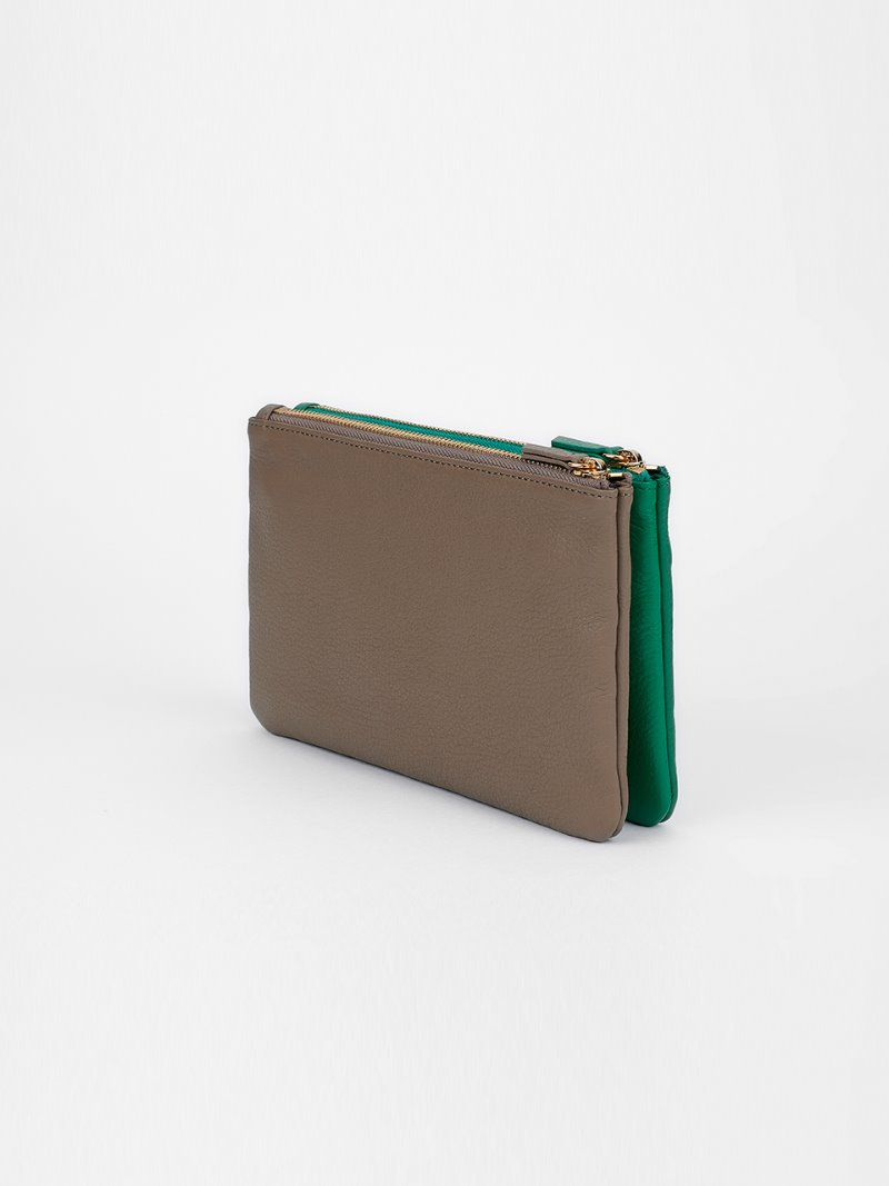 POUCH-DOUBLE MIX-MUD x GREEN [LESAC]