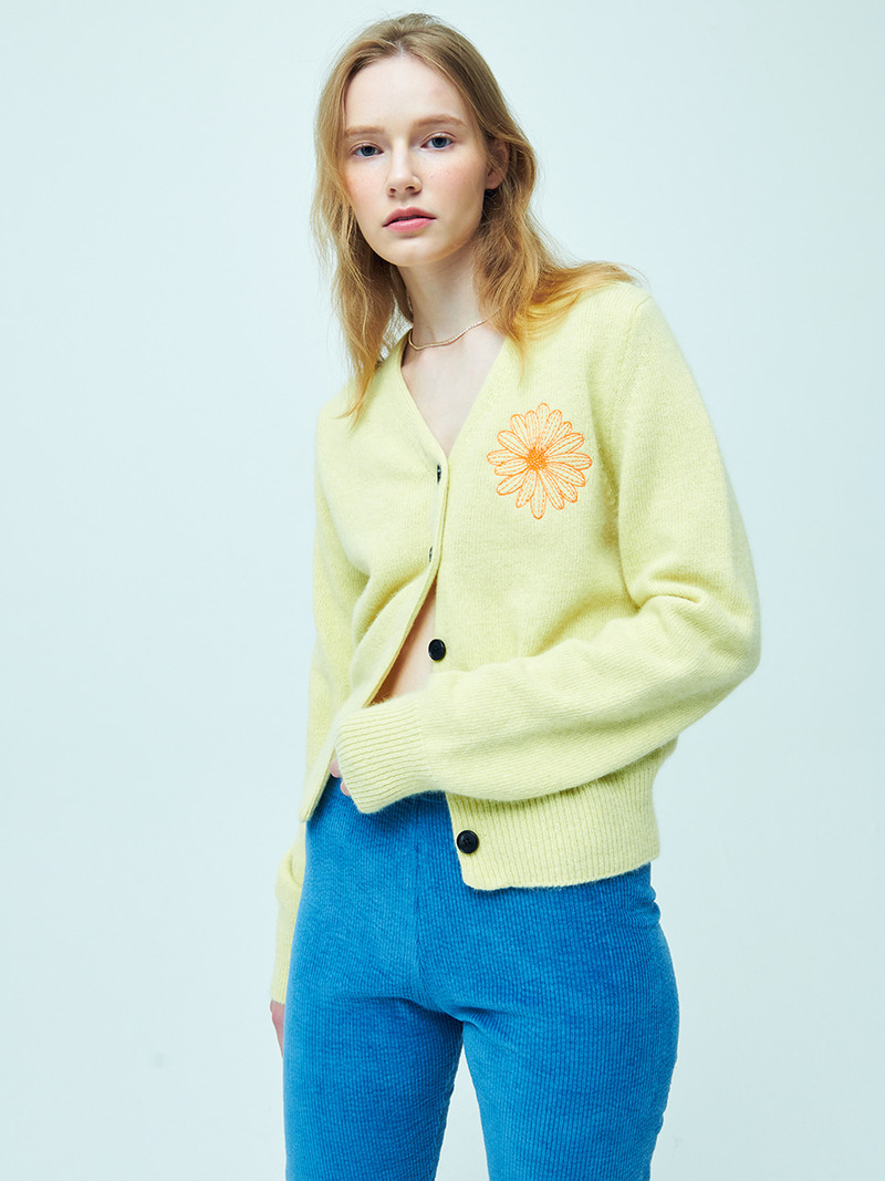 RACOON-BLENDED VNECK CARDIGAN YELLOW