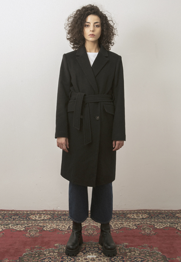 BELTED CASHMERE WOOL COAT