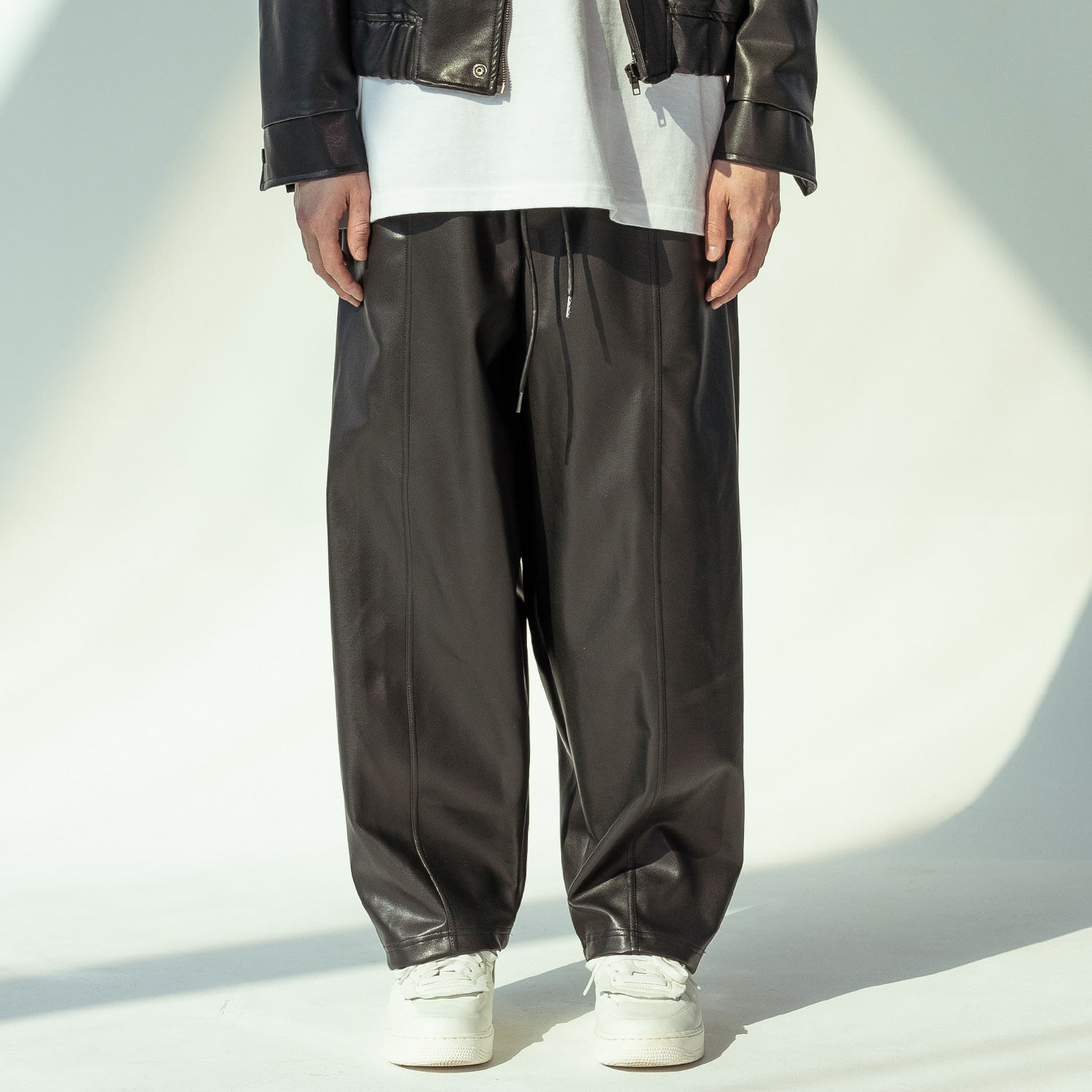 ARTIFICIAL LEATHER PANTS MSOLP001-BK