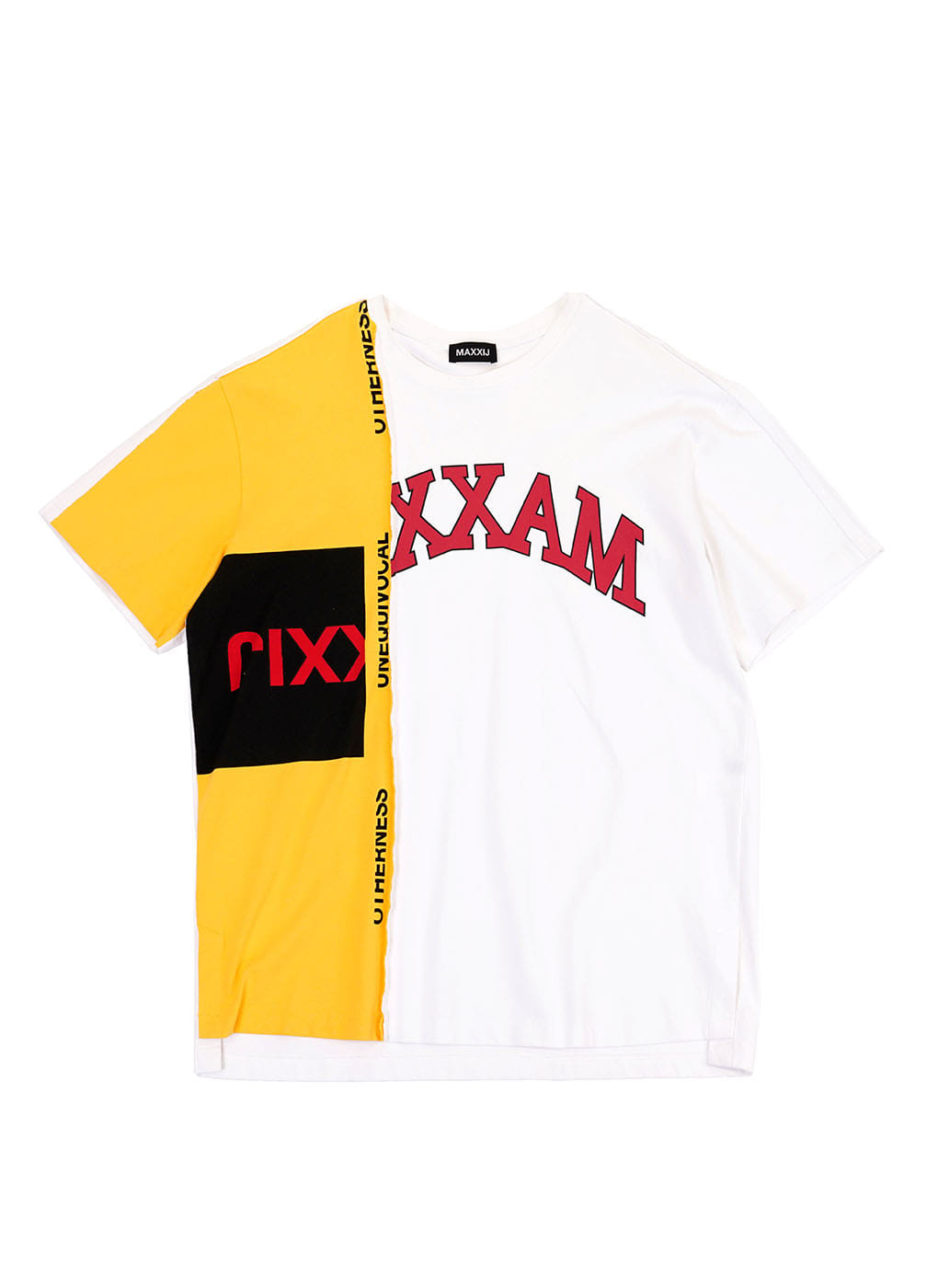 Yellow/White Color Block Collage Printed T-shirt