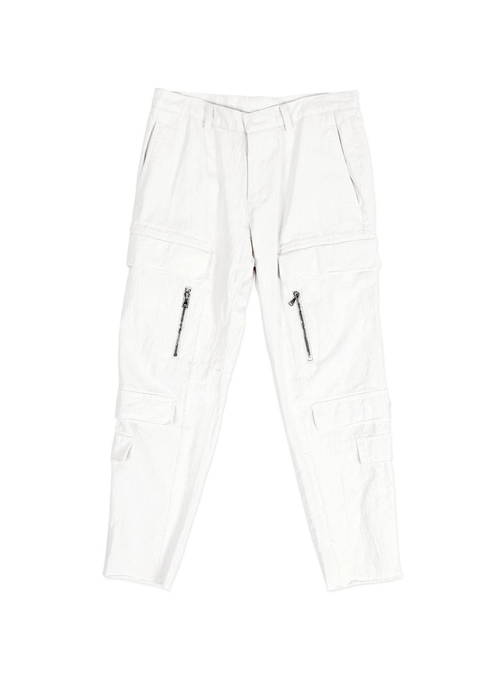 White New Cargo Denim Trousers