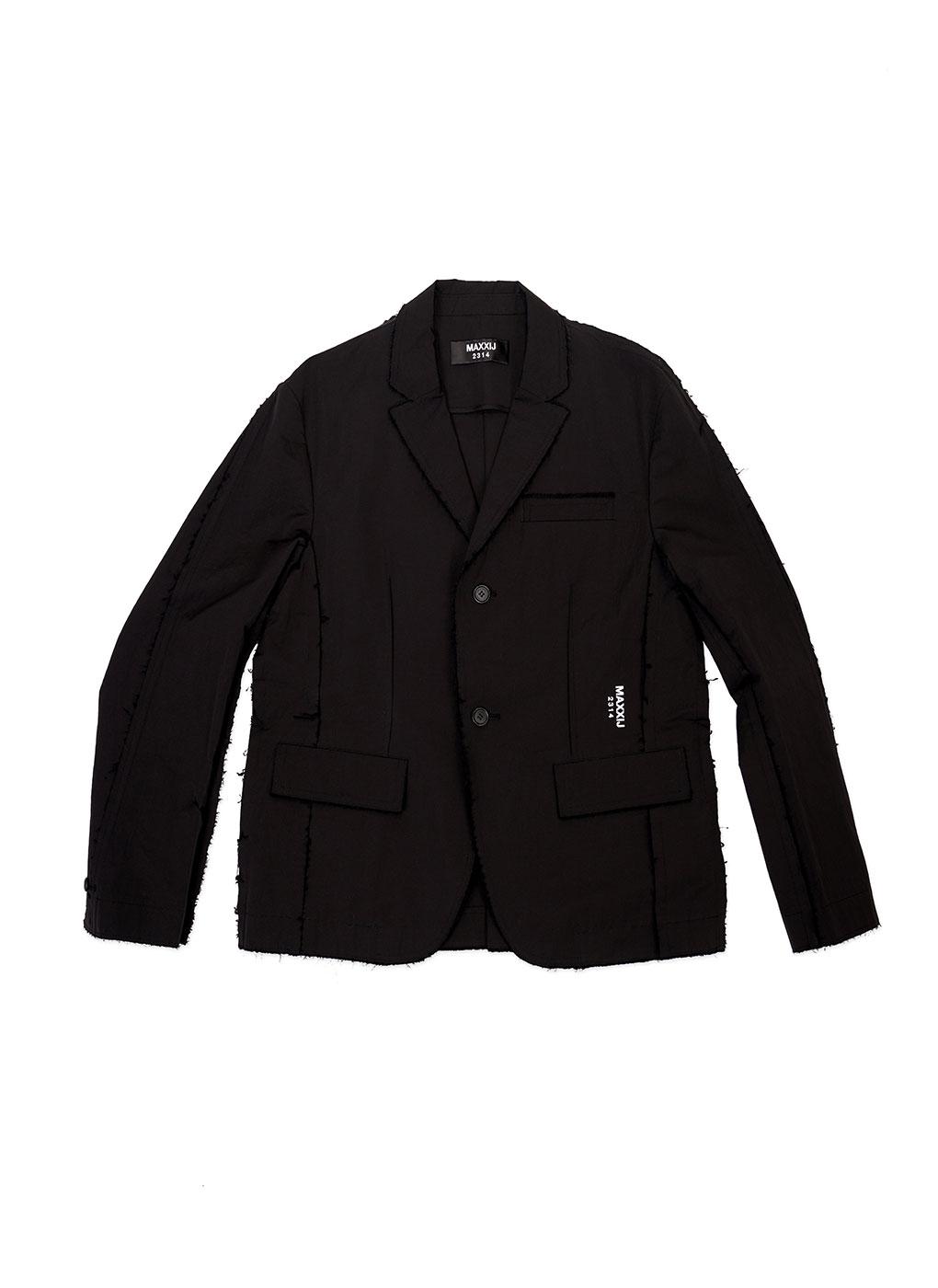 Black Cotton Nylon Insideout Seam Binding Blazer