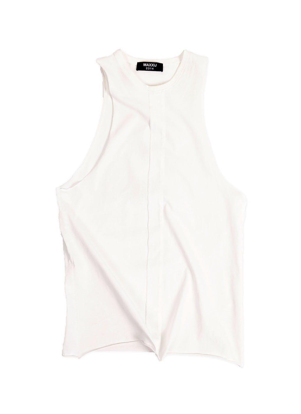 White Cutout Top Stitched Jersey Sleeveless T-shirt