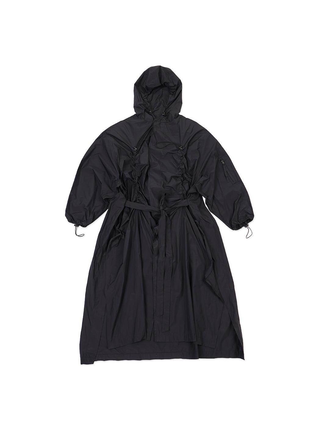 Black Luminous Logo Print Rain Coat