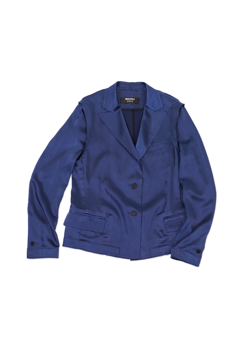 Deep Blue Raw Edge Blazer