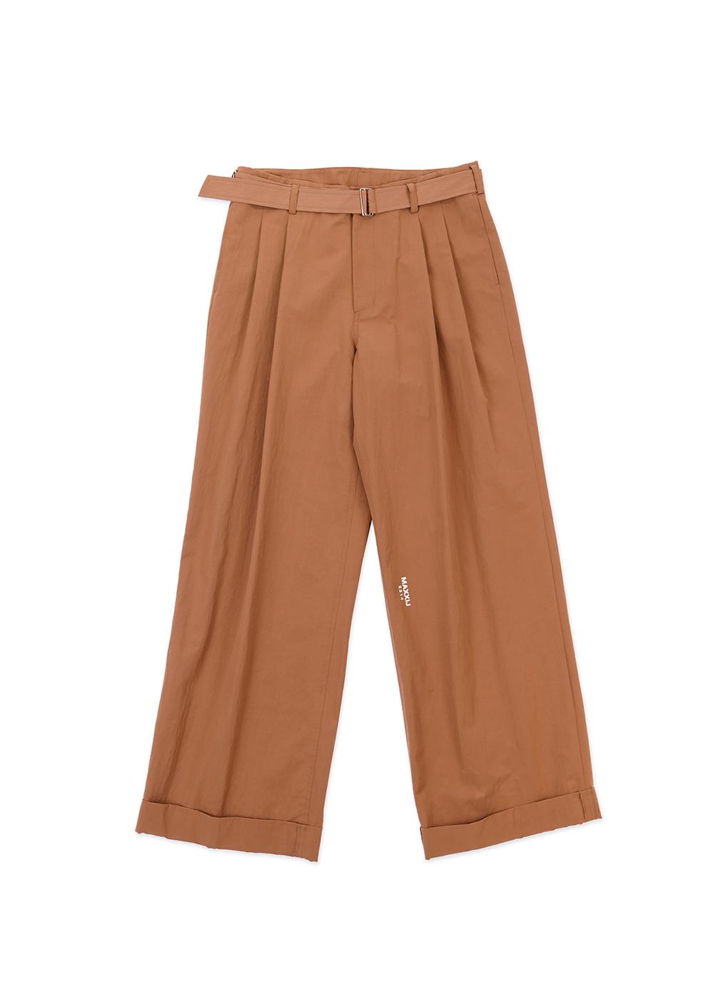 Brown Cotton Nylon Loose Trousers