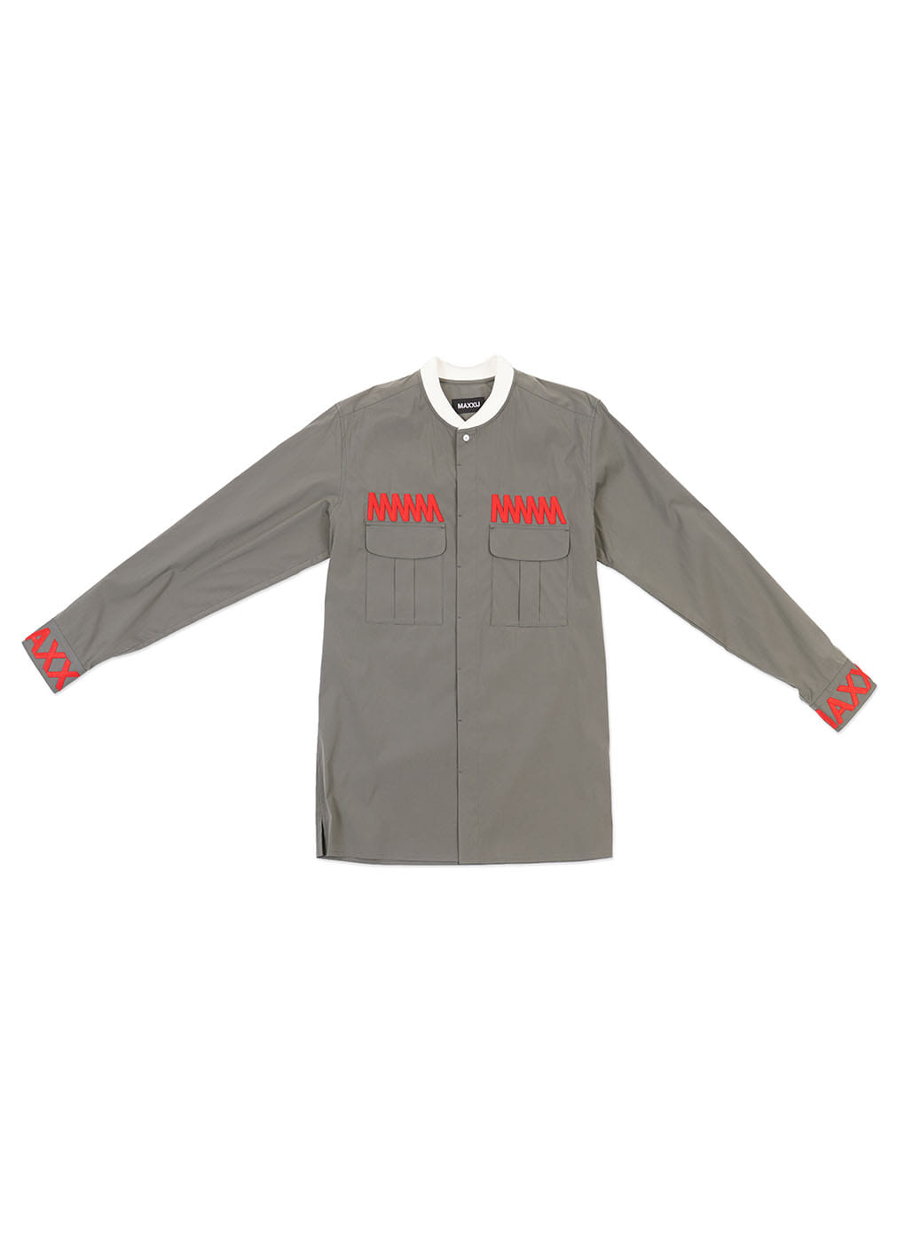 Blue Khaki Military Bomber Neck Shirt With Chest Embroidery