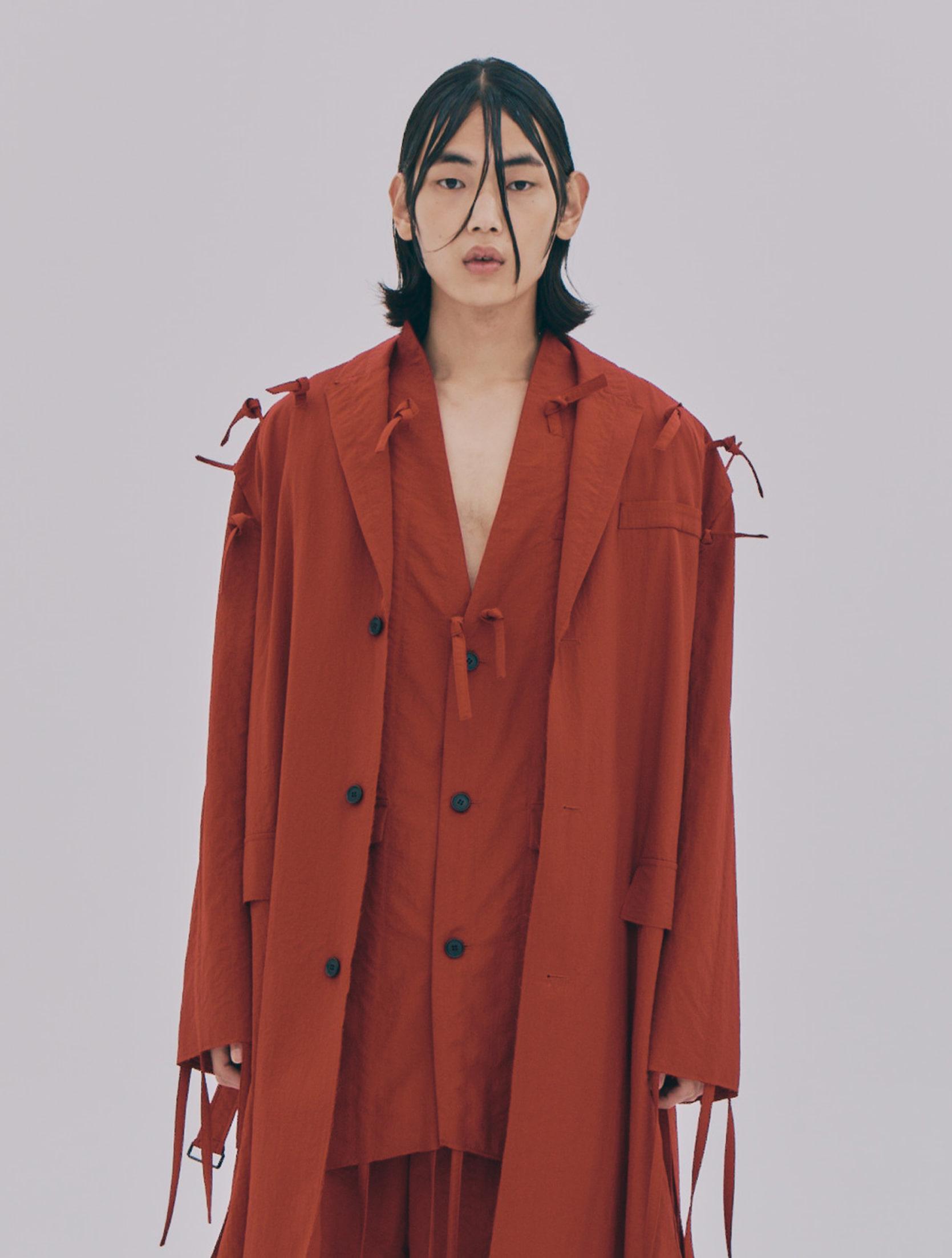 Red Strap Fringe Detailed Neck Vent Single Breasted Vest