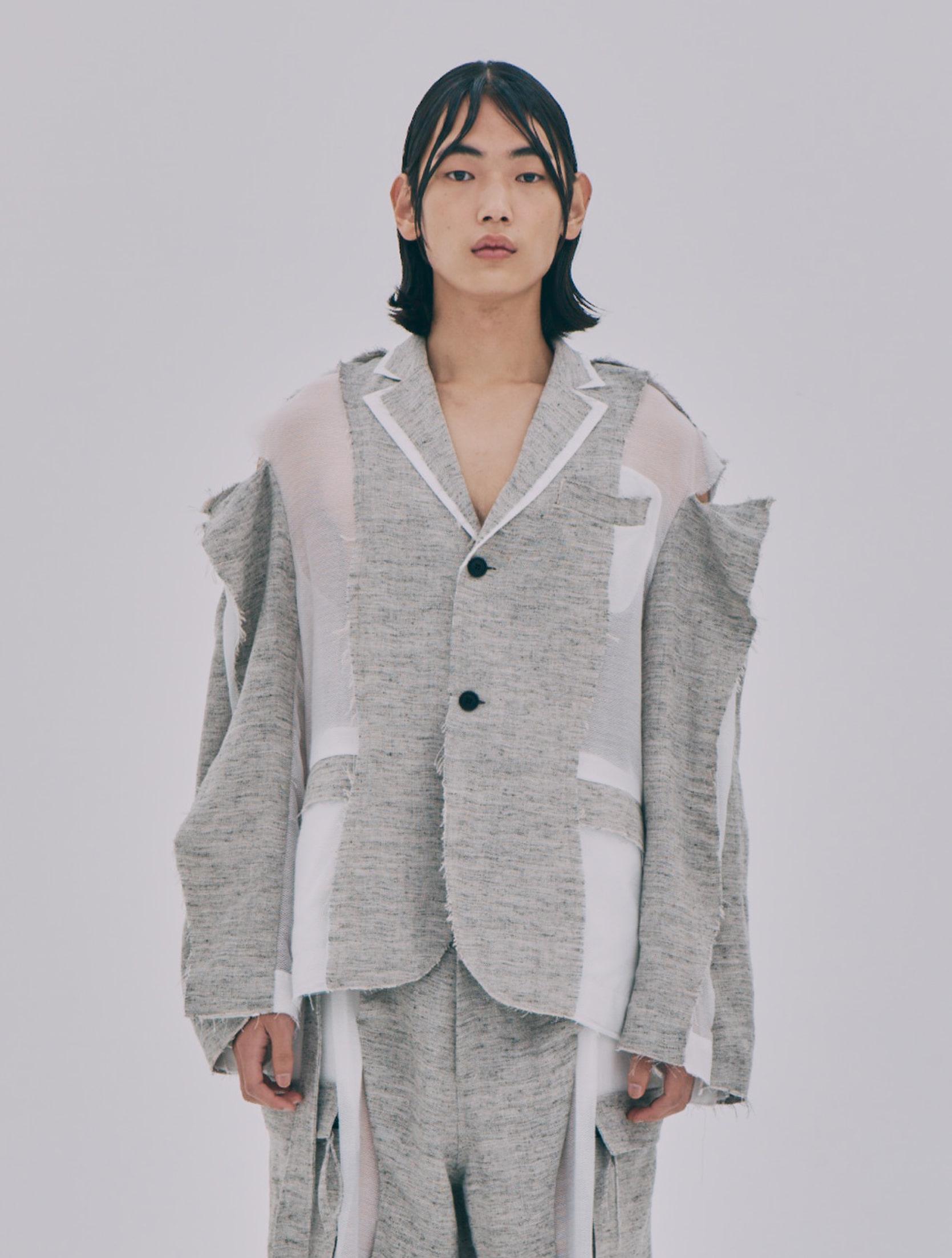 Grey Linen Blended Wave Structured Jacket