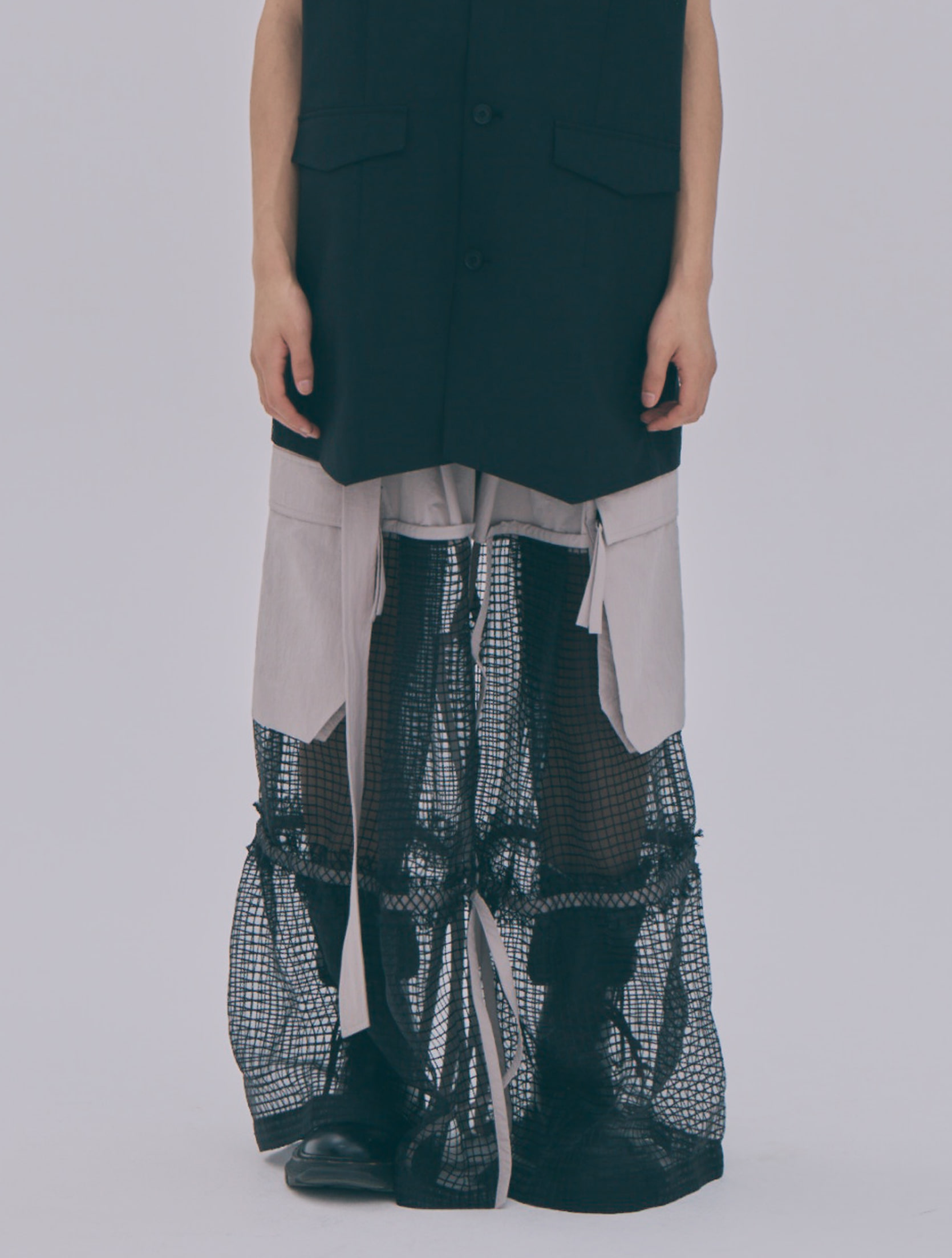 Reconstructed Mesh Detailed Cargo Trousers
