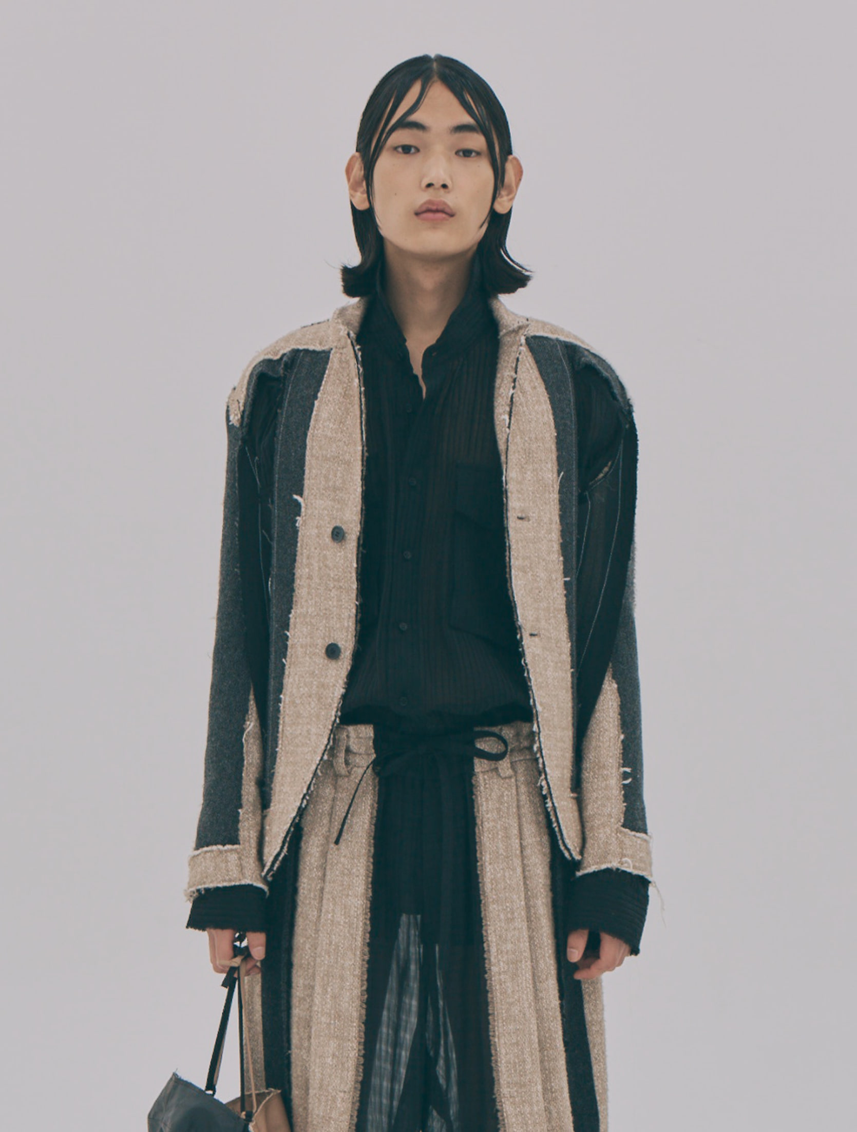 Wool Blended Deconstructed Raw-Edge Jacket