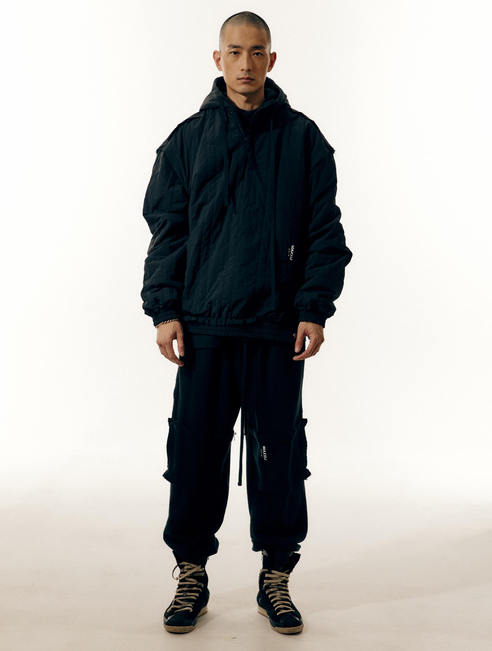 Black Nylon Quilted Zip Up Hoodie