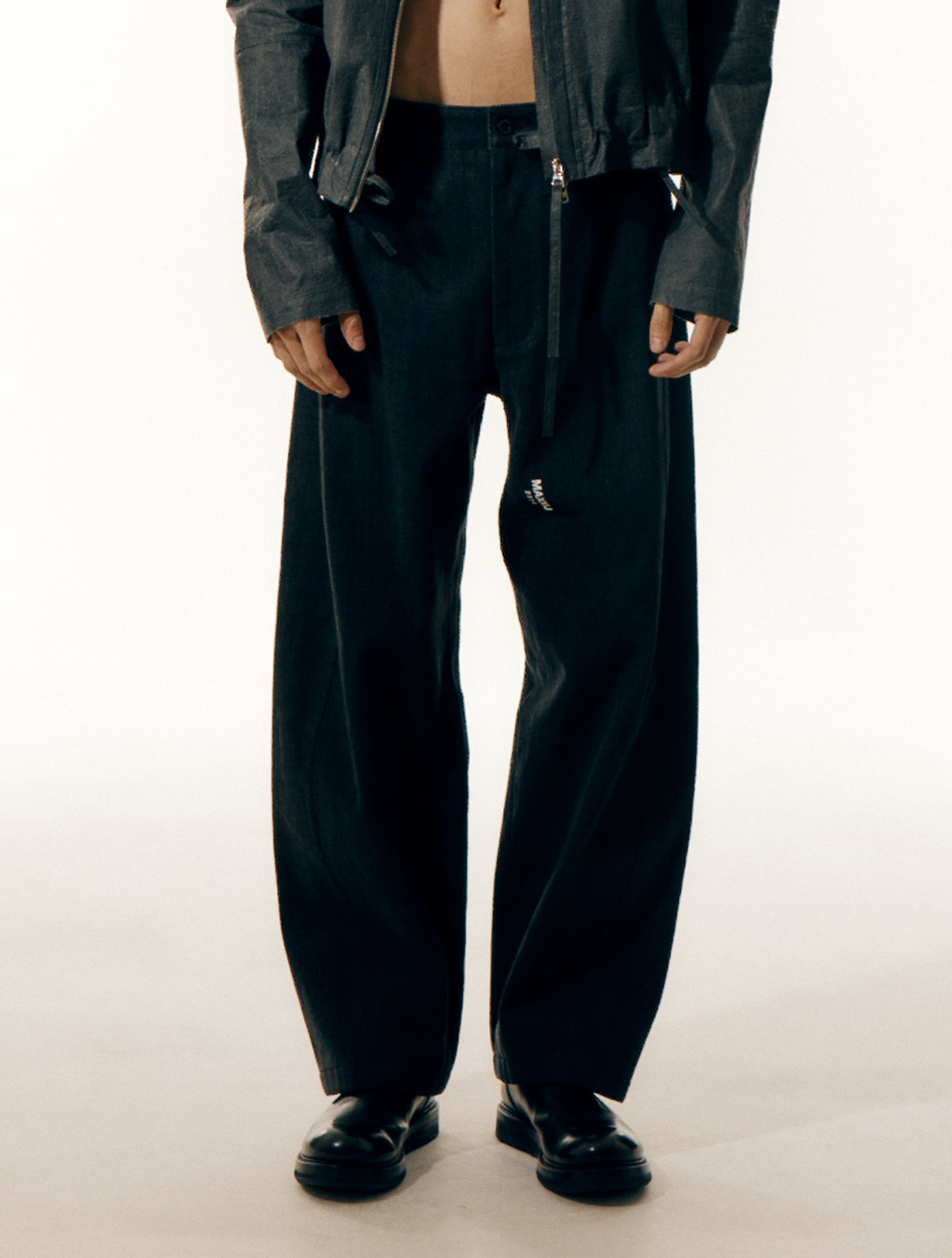 Black Denim Signature Wave Seam Trousers