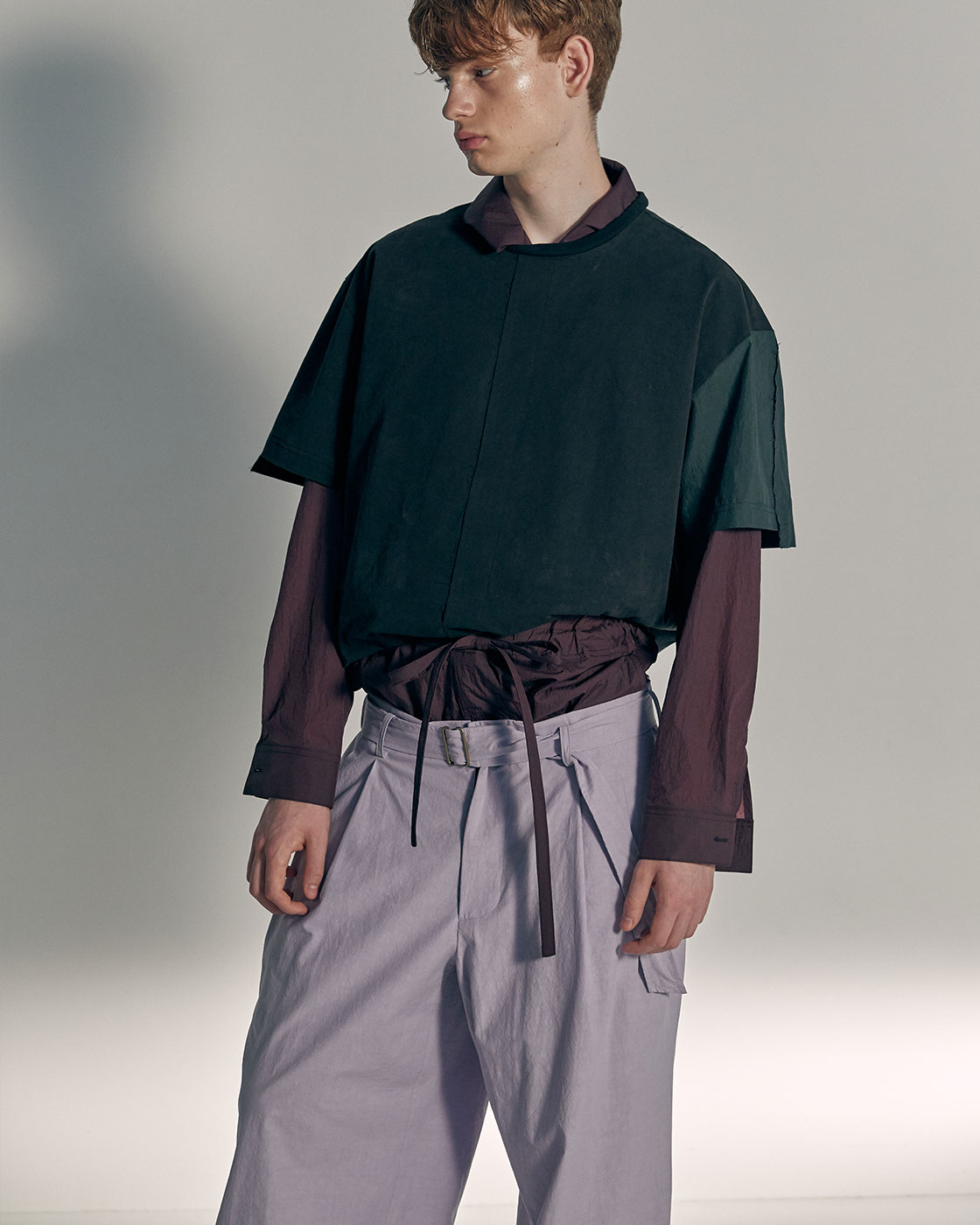 Color Blocking Sleeve Seam Out Basic Woven Top
