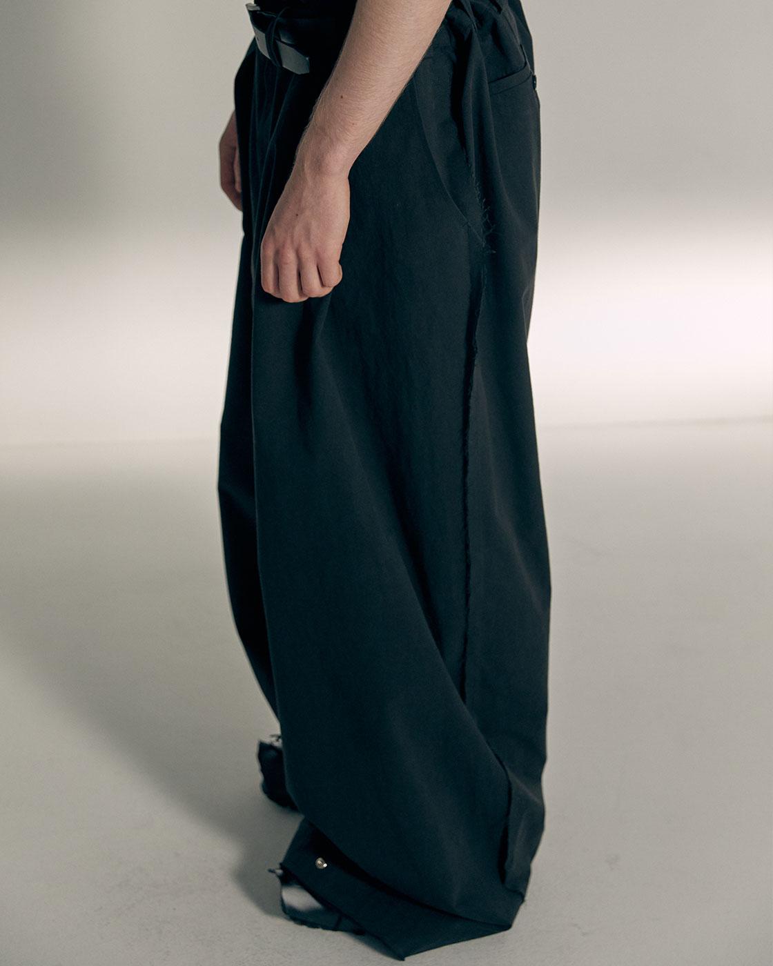 Charcoal Pressbutton hem Signature Wide Trousers
