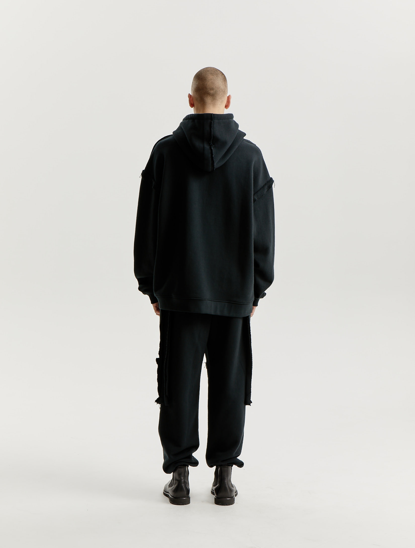 Black Raw Edge Detailed Jersey Hoodie