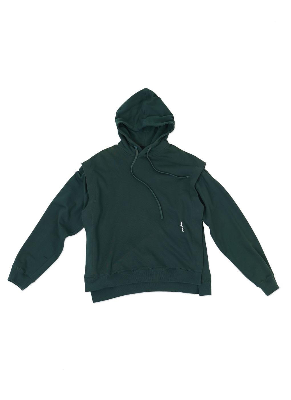 Dark Green Detachable Sleeve Hoodie Sweatshirt
