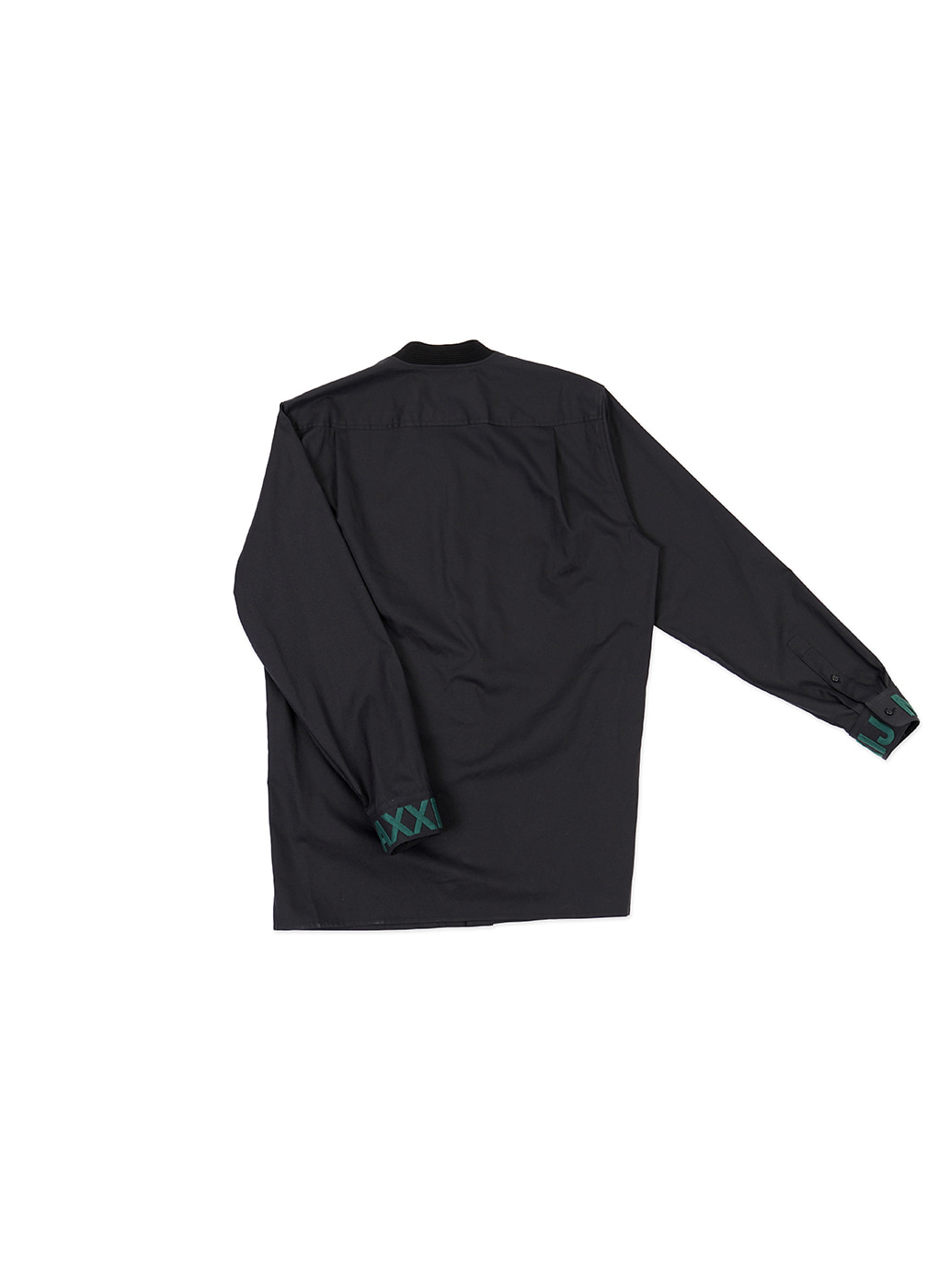 Dark Navy Military Bomber Neck Shirt With Chest Embroidery