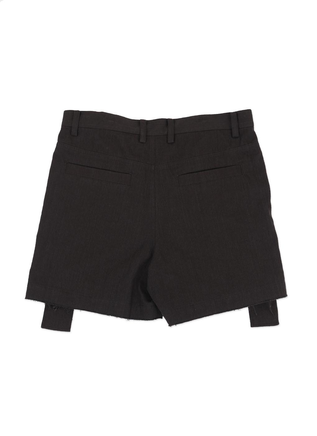 Black Denim Zipper Shorts