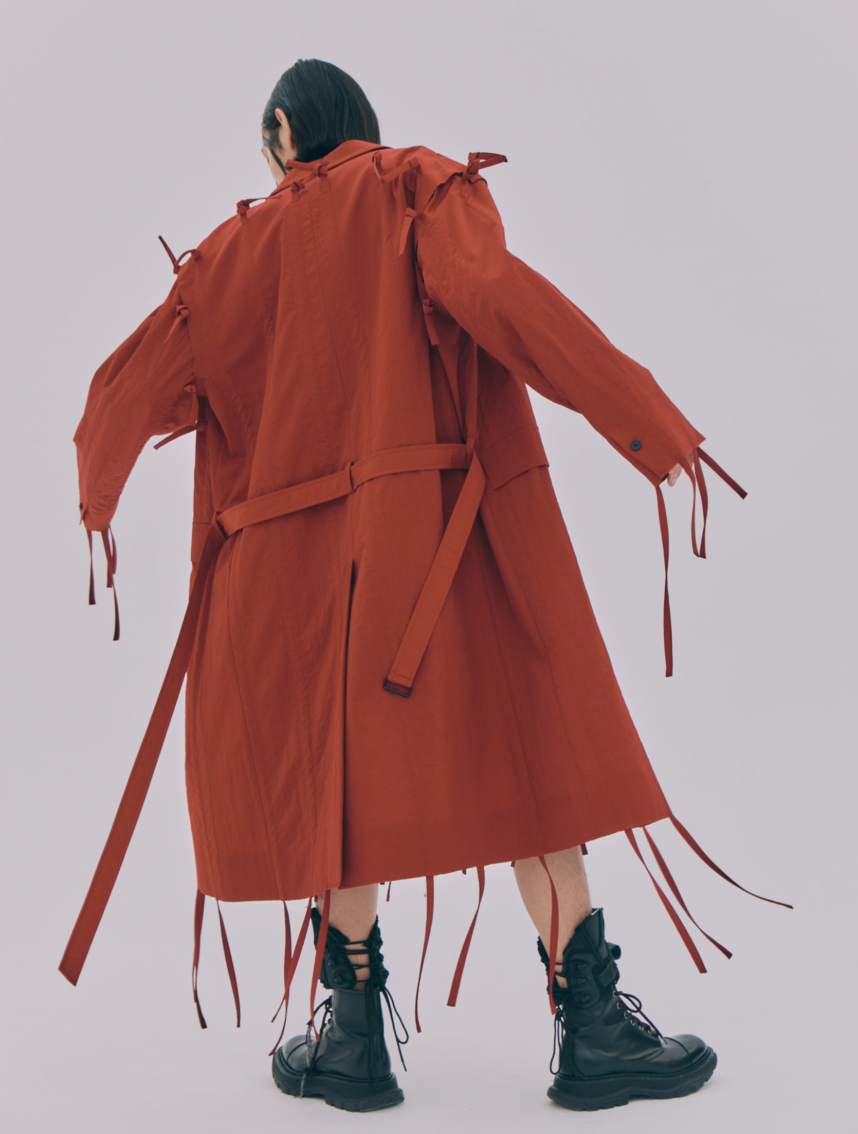 Red Folded Collar Strap Fringe Detailed Seam Out Single Breasted Coat