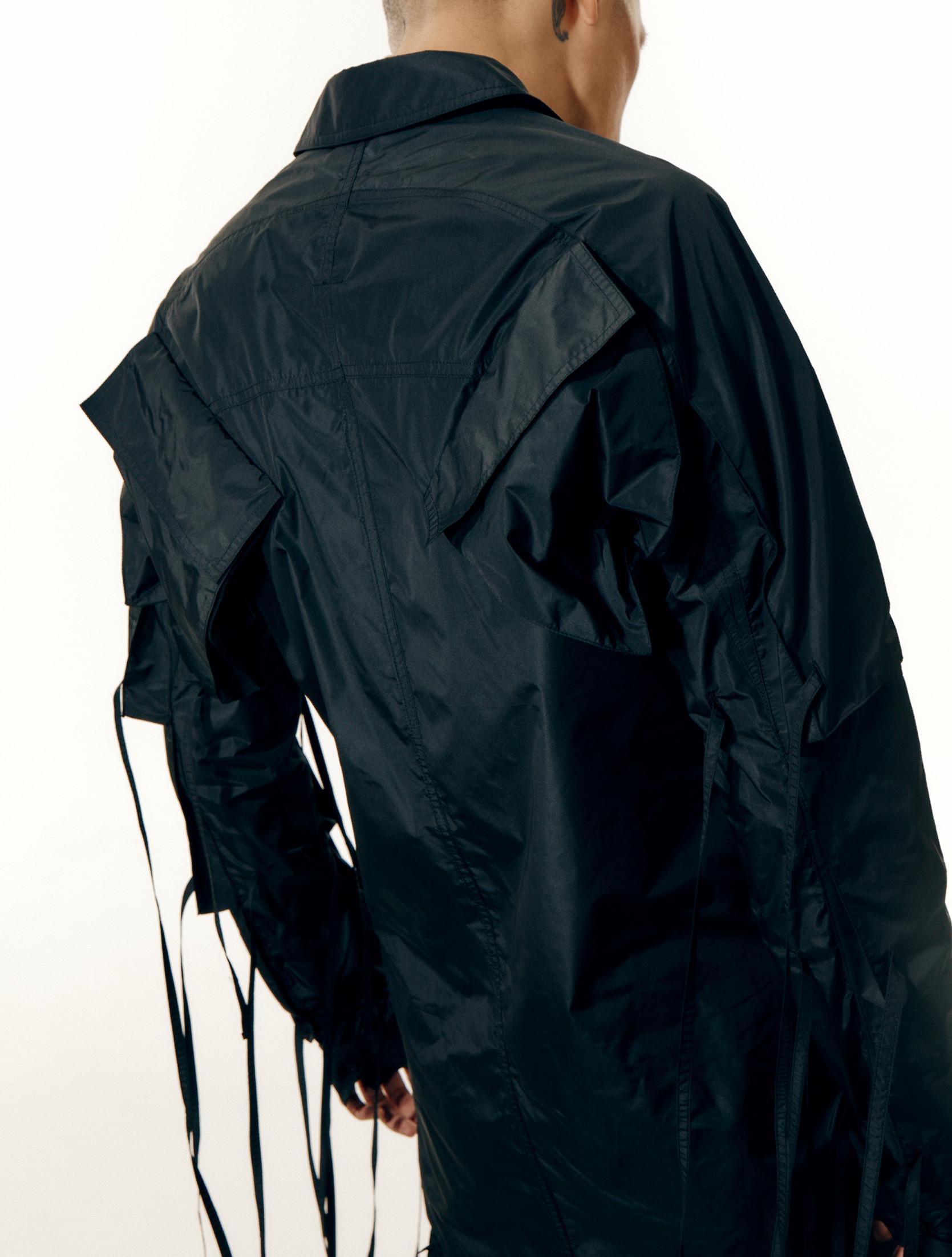 Black Strap Detailed Multi Pocket Shirts