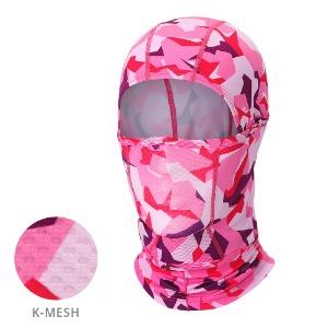 [MH-KMESH PINK CAMO]통기성 좋은 사계절 K-매쉬 헤드마스크, 핑크카모벌레와 자외선으로부터 얼굴을 보호하는자전거 등산 낚시 레저 등 스포츠마스크