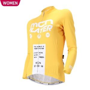 [WCJL-CHROME YELLOW] 춘/추용 크롬 옐로우 여성 긴팔 져지봄~가을까지 입기좋은 기능성 저지자전거의류, 라이딩상의, 사이클져지