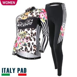 살균 스프레이 무료증정[WILD JUNGLE SET-WOMEN]와일드정글 세트춘/추용 여성 긴팔져지+9부 패드바지자전거의류, 자전거복, 사이클웨어, 라이딩복장
