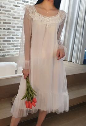 로맨틱쉬폰 원피스잠옷