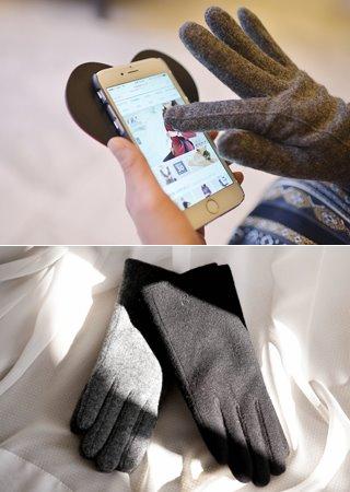 刺繍ポイント裏ファーウール手袋